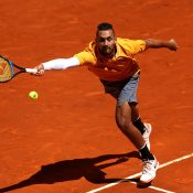 Nick Kyrgios in action during his first-round loss to Jan-Lennard Struff at the Madrid Masters (Getty Images)