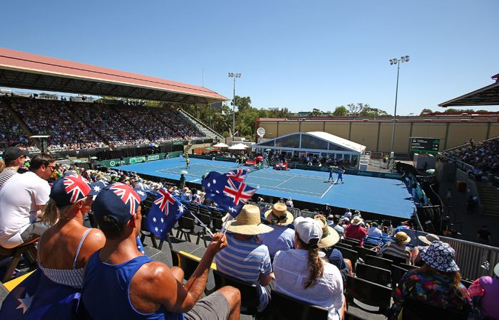 A view over Memorial Drive's centre court during the Australia v Bosnia & Herzegovina Davis Cup tie in February 2019 (Getty Images)