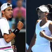 Alexei Popyrin (L) and Priscilla Hon have been awarded main draw wildcards at this month's French Open (Getty Images)