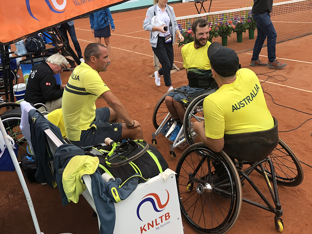 Francois Vogelsberger (L) with Dylan Alcott and Heath Davidson at the 2018 World Team Cup in the Netherlands.