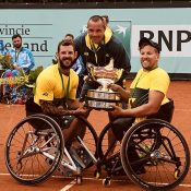 Francois Vogelsberger (centre) with Dylan Alcott and Heath Davidson at the 2018 World Team Cup in the Netherlands.