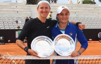ROME, ITALY - MAY 19: (L-R) Victoria Azarenka of Belarus and Ashleigh Barty of Australia pose with the trophy after winning the Women's doubles final match during Day eight of the International BNL d'Italia at Foro Italico on May 19, 2019 in Rome, Italy. (Photo by Paolo Bruno/Getty Images)