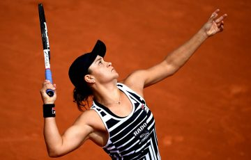 PARIS, FRANCE - MAY 27: Ashleigh Barty of Australia serves during her ladies singles first round match against Jessica Pegula of The United States during Day two of the 2019 French Open at Roland Garros on May 27, 2019 in Paris, France. (Photo by Clive Mason/Getty Images)