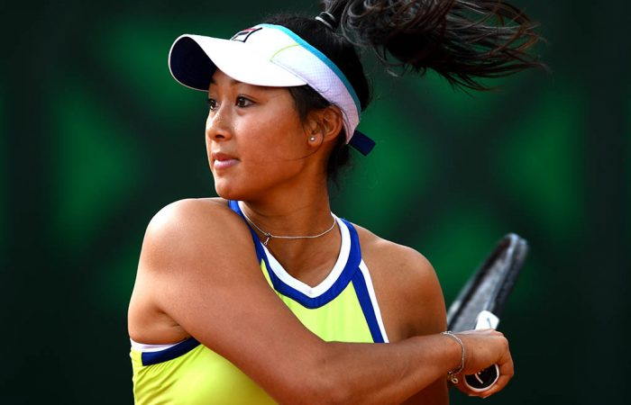 PARIS, FRANCE - MAY 28: Priscilla Hon of Australia during her ladies singles first round match against Timea Babos of Hungary during Day three of the 2019 French Open at Roland Garros on May 28, 2019 in Paris, France. (Photo by Clive Mason/Getty Images)