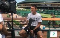 Alex de Minaur chats to the media at Wimbledon