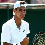 Alexei Popyrin in action during his final-round qualifying victory over Bjorn Fratangelo (Getty Images)