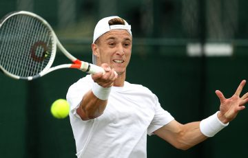 Andrew Harris in action during his victory over Sergiy Stakhovsky in the second round of Wimbledon qualifying (Getty Images)