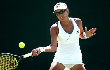 Arina Rodionova in action during her final-round Wimbledon qualifying victory over Danielle Lao (Getty Images)