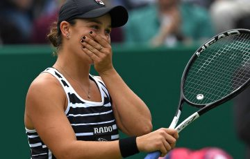 Ash Barty is overwhelmed with emotion after rising to world No.1 with her WTA Birmingham title (Getty Images)