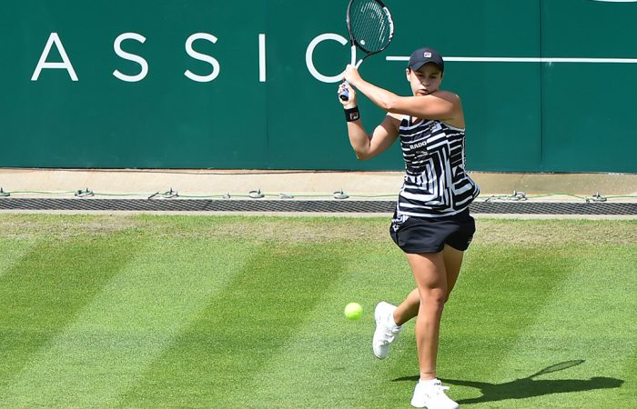 Ash Barty plays a backhand en route to victory over Jennifer Brady in the second round of the Nature Valley Classic in Birmingham (Getty Images)