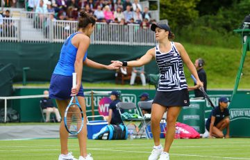 Ash Barty (R) teamed with Julia Goerges in doubles this week at the Nature Valley Classic in Birmingham (Getty Images)