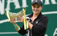 Ash Barty poses with the champion's trophy after winning the WTA title in Birmingham (Getty Images)
