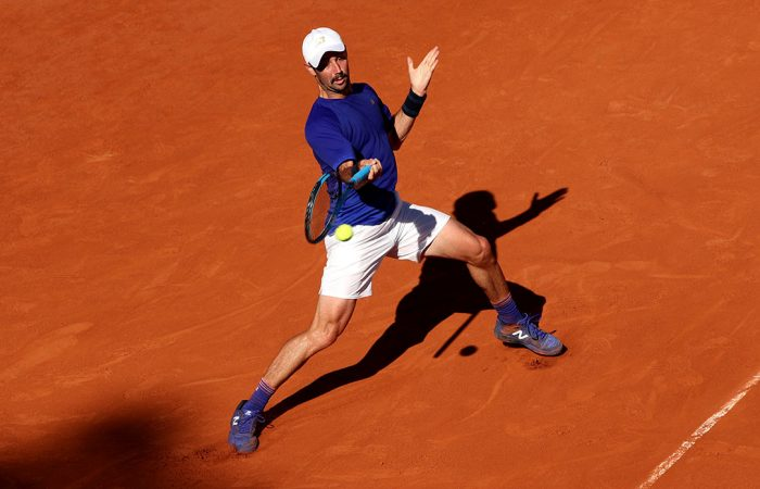 FOCUS: Jordan Thompson lines up a forehand in his Roland Garros third round match; Getty Images