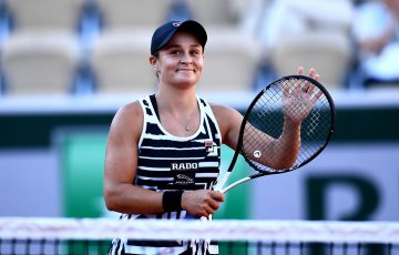 IN FORM: Ash Barty celebrates her third round win over Andrea Petkovic in Paris; Getty Images