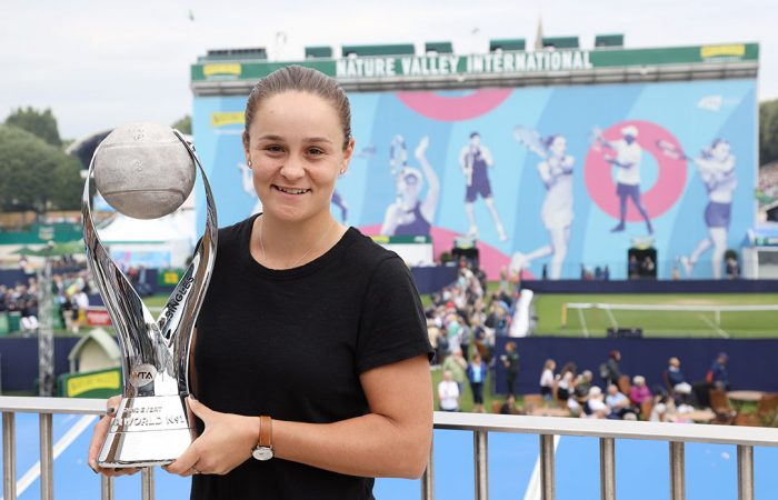 ON TOP: Ash Barty  poses with the WTA No.1 Trophy in Eastbourne; Getty Images