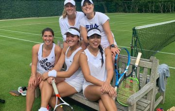 READY TO GO: Aussie players, clockwise from top left, Ellen Perez, Kimberly Birrell, Lizette Cabrera, American Kristie Ahn and Jaimee Fourlis took part in a grass court camp in Surbiton last week.