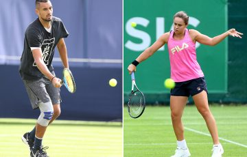 Nick Kyrgios (L) and Ash Barty train on grass at Queen's and Birmingham ahead of Wimbledon (Getty Images)