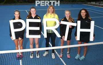 PERTH, AUSTRALIA - JUNE 17: Alicia Molik poses with junior Tennis West State players after Tennis Australia announce the 2019 Fed Cup Final venue at RAC Arena on June 17, 2019 in Perth, Australia. (Photo by Paul Kane/Getty Images)