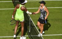 BIRMINGHAM, ENGLAND - JUNE 21: Ashleigh Barty of Australia shakes Venus Williams of United States hand after she beats during day five of the Nature Valley Classic at Edgbaston Priory Club on June 21, 2019 in Birmingham, United Kingdom. (Photo by Nathan Stirk/Getty Images)