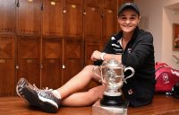 PARIS, FRANCE - JUNE 08: Ashleigh Barty of Australia celebrates victory with the winners trophy in the dressing room following the ladies singles final match against Marketa Vondrousova of The Czech Republic during Day fourteen of the 2019 French Open at Roland Garros on June 08, 2019 in Paris, France. (Photo by Corinne Dubreuil/FFT-Pool/Getty Images)