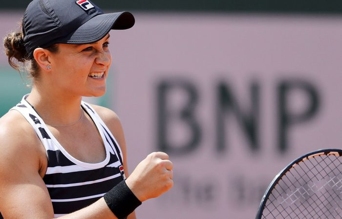 Australia's Ashleigh Barty celebrates after winning against Madison Keys of the US during their women's singles quarter-final match on day twelve of The Roland Garros 2019 French Open tennis tournament in Paris on June 6, 2019. (Photo by Thomas SAMSON / AFP)        (Photo credit should read THOMAS SAMSON/AFP/Getty Images)