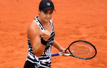 PARIS, FRANCE - JUNE 07: Ashleigh Barty of Australia celebrates during her ladies singles semi-final match against Amanda Anisimova of The United States during Day thirteen of the 2019 French Open at Roland Garros on June 07, 2019 in Paris, France. (Photo by Clive Mason/Getty Images)