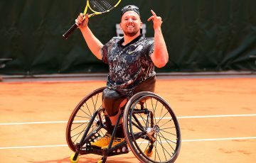 PARIS, FRANCE - JUNE 08: Dylan Alcott of Australia celebrates at match point in the quad singles mens wheelchair final against David Wagner of The United States during Day fourteen of the 2019 French Open at Roland Garros on June 08, 2019 in Paris, France. (Photo by Clive Brunskill/Getty Images)