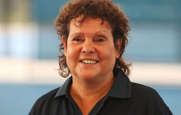 DARWIN, AUSTRALIA - JULY 30:  Evonne Goolagong Cawley talks to the media during the National Indigenous Tennis Carnival Launch at Darwin International Tennis Centre on July 30, 2018 in Darwin, Australia.  (Photo by Graham Denholm/Getty Images)