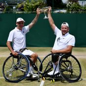 Dylan Alcott (R) and Andy Lapthorne won the Wimbledon quad wheelchair doubles title (Getty Images)