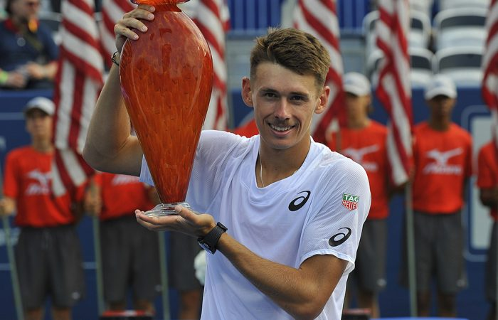 Alex de Minaur poses with his trophy after winning the ATP title in Atlanta (Getty Images)