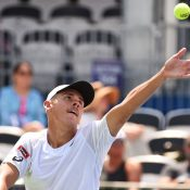 Alex de Minaur serves to Reilly Opelka during his win over the American in the semifinals of the ATP Atlanta Open (Getty Images)