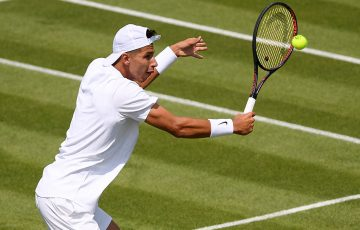 Alexei Popyrin in action during his second-round match against Daniil Medvedev at Wimbledon (Getty Images)