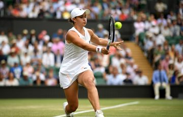 Ash Barty in action on Centre Court during her third-round win over Harriet Dart at WImbledon (Getty Images)