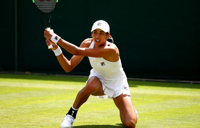 Astra Sharma in action during her first-round match at Wimbledon against 27th seed Sofia Kenin (Getty Images)
