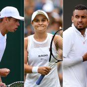 (L-R) Alex de Minaur, Ash Barty and Nick Kyrgios at Wimbledon (Getty Images)