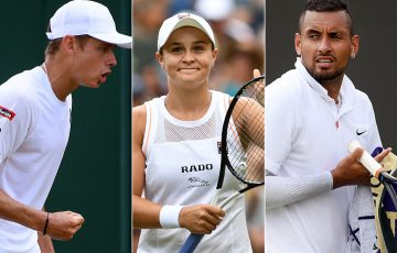 (L-R) Alex de Minaur, Ash Barty and Nick Kyrgios at Wimbledon (Getty Images)