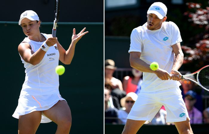 Ash Barty (L) and John Millman in action at Wimbledon (Getty Images)