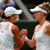 Ash Barty (L) shakes hands with Alison Riske after the American won their fourth-round match at Wimbledon (Getty Images)