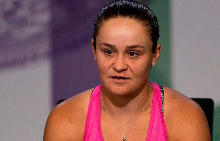 Ash Barty speaks to the media following her fourth-round loss to Alison Riske at Wimbledon (Getty Images)