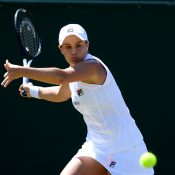 Ash Barty plays a forehand en route to her second-round victory over Alison Van Uytvanck (Getty Images)