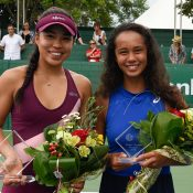 Lizette Cabrera (L) wins the ITF 80K title in Granby, Canada over Leylah Fernandez (R) (photo: Sarah-Jäde Champagne/Tennis Canada)