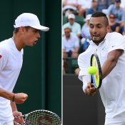 Alex de Minaur (L) and Nick Kyrgios (R) were first-round winners at Wimbledon (Getty Images)