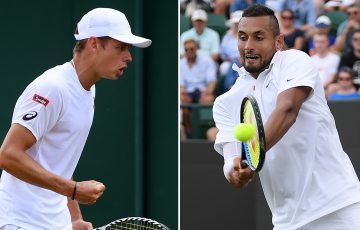 Alex de Minaur (L) and Nick Kyrgios (R) were first-round winners at Wimbledon (Getty Images)