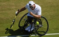 Dylan Alcott celebrates a winning point during his semifinal victory over Koji Sugeno (Getty Images)