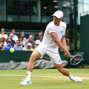 John Millman in action during his third-round loss to Sam Querrey at Wimbledon (Getty Images)