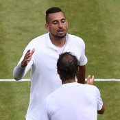 Nick Kyrgios shakes hands with Rafael Nadal after their second-round match at Wimbledon (Getty Images)