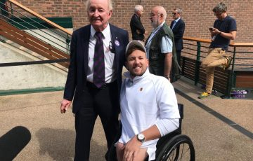 Dylan Alcott (R) and Rod Laver at Wimbledon.
