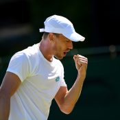 John Millman in action during his second-round win over Laslo Djere at Wimbledon (Getty Images)