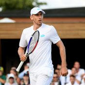 John Millman in action during his first-round win over Hugo Dellien at Wimbledon (Getty Images)