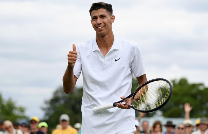 Alexei Popyrin celebrates his first-round win at Wimbledon over Pablo Carreno Busta (Getty Images)